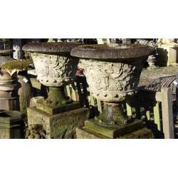 Pair Weathered Stone Urns