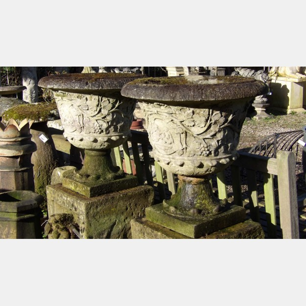 Pair Weathered Stone Urns (SOLD)