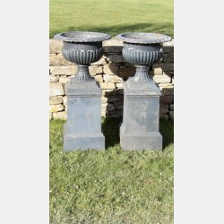 Pair of Antique Cast-Iron Urns