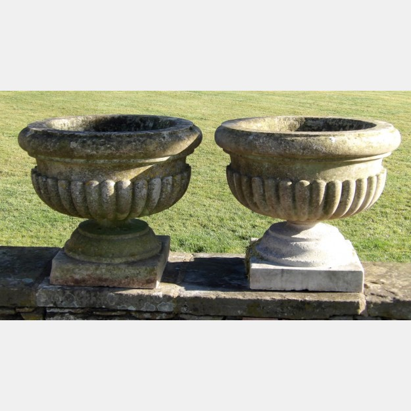 Pair Antique Stone Urns