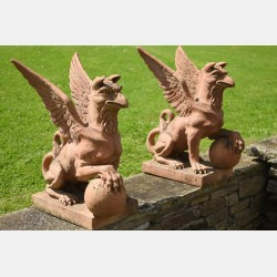 Pair of Terracotta Griffins