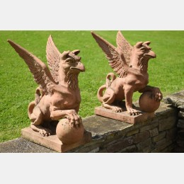 Pair of Terracotta Griffins
