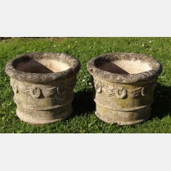 Pair of Weathered Stone Planters