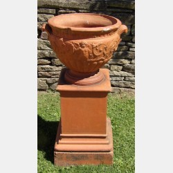 Vintage Terracotta Urn on Plinth