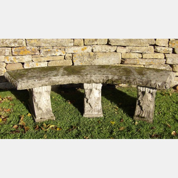 Weathered Curved Garden Seat
