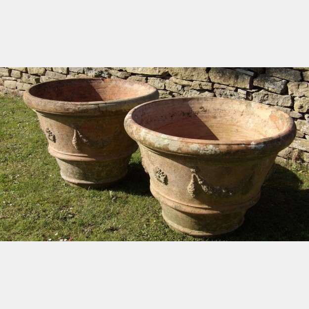 A Pair of Vintage Terracotta Planters