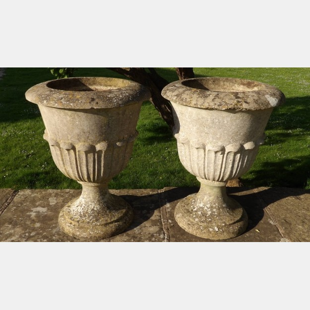 Pair of Vintage Garden Urns