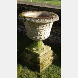 Weathered Stone Garden Urn