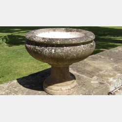 An Antique Marble Birdbath