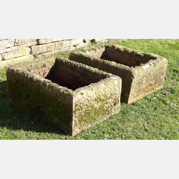 Pair of Carved Stone Troughs