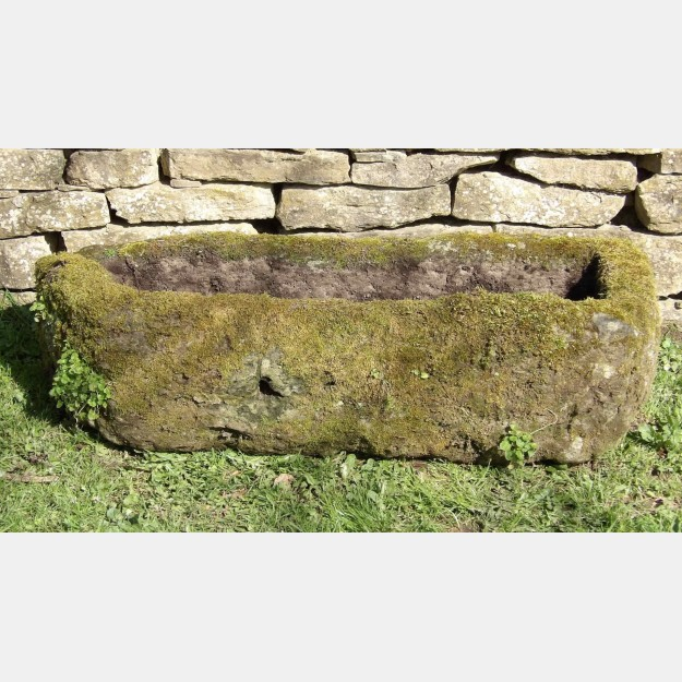High Stone Wall Garden With Rectangular French Marble: An Old Rectangular Stone Trough