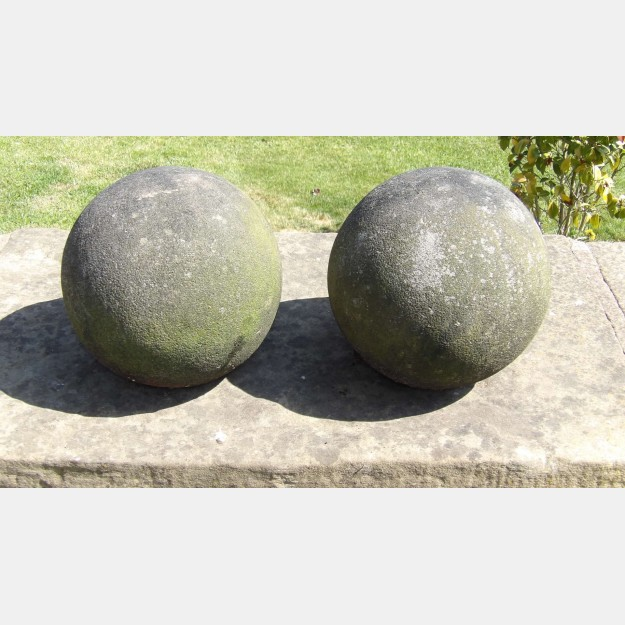 Pair of Salvaged Stone Balls