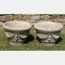Pair of Weathered Garden Planters