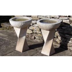 Modern Carved Stone Birdbath