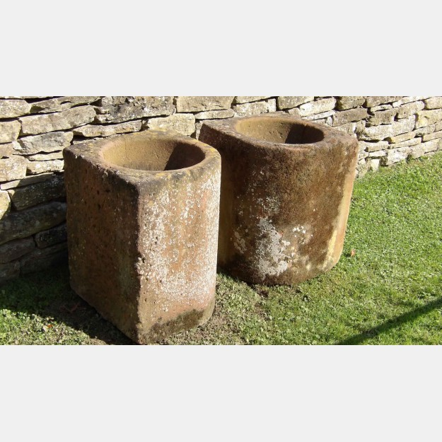 Pair of Stone Corner Troughs