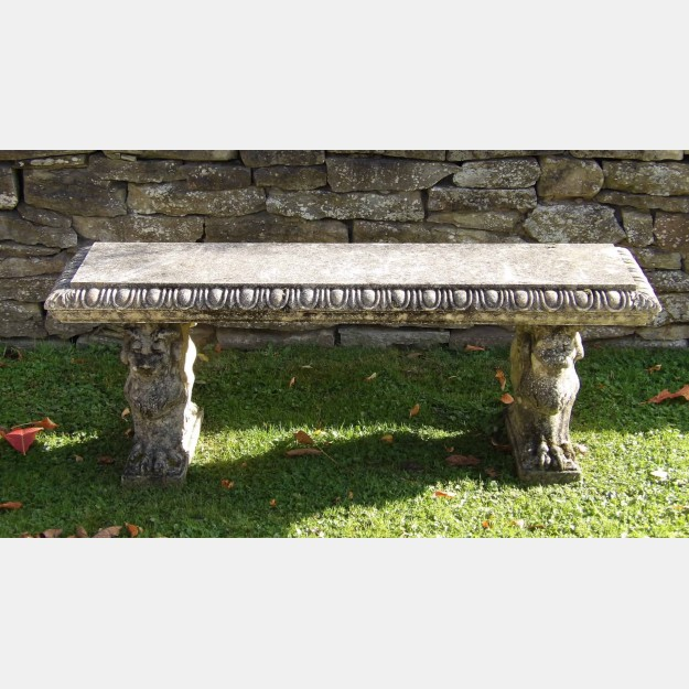 Weathered Stone Garden Bench