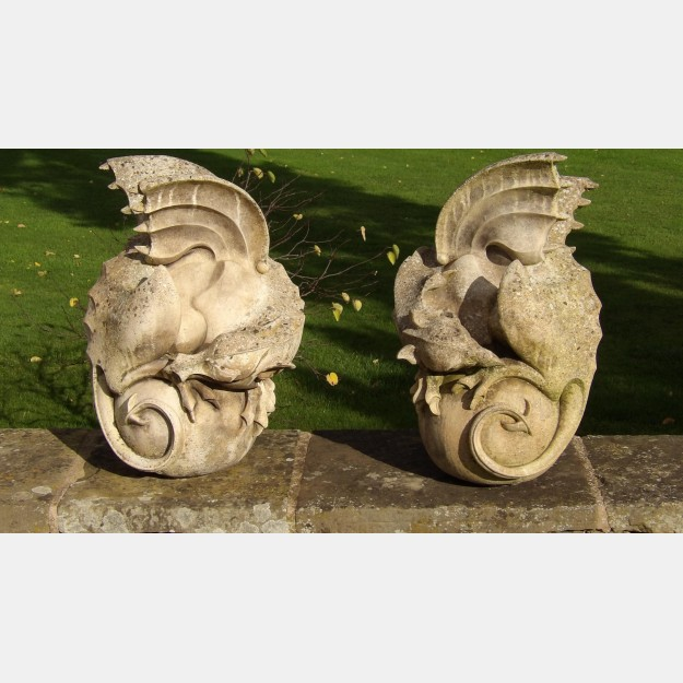Pair of Weathered Dragon Finials