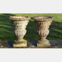 Pair of weathered garden urns