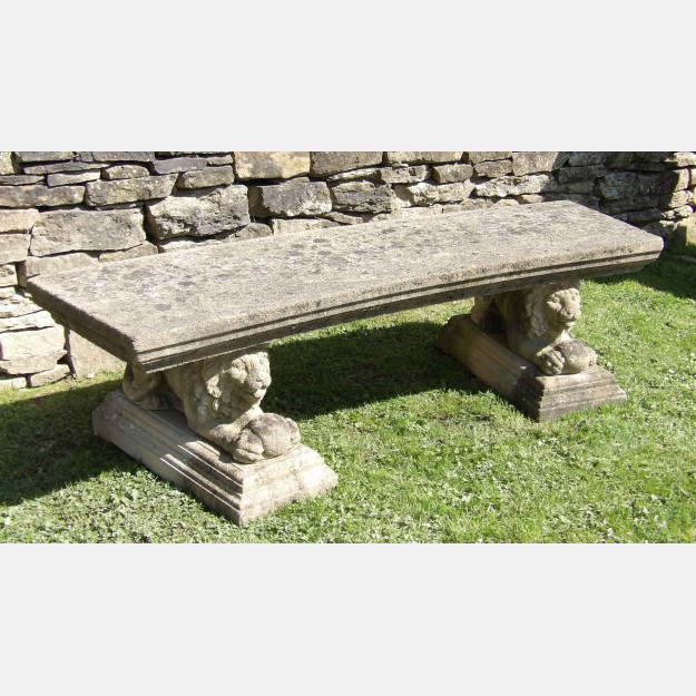 Side view of vintage stone bench