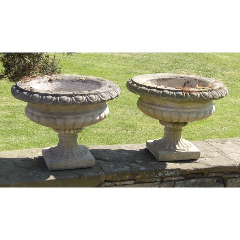 Pair Weathered Garden Urns
