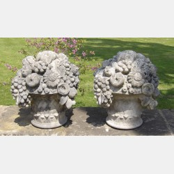 Pair of Weathered Garden Finials