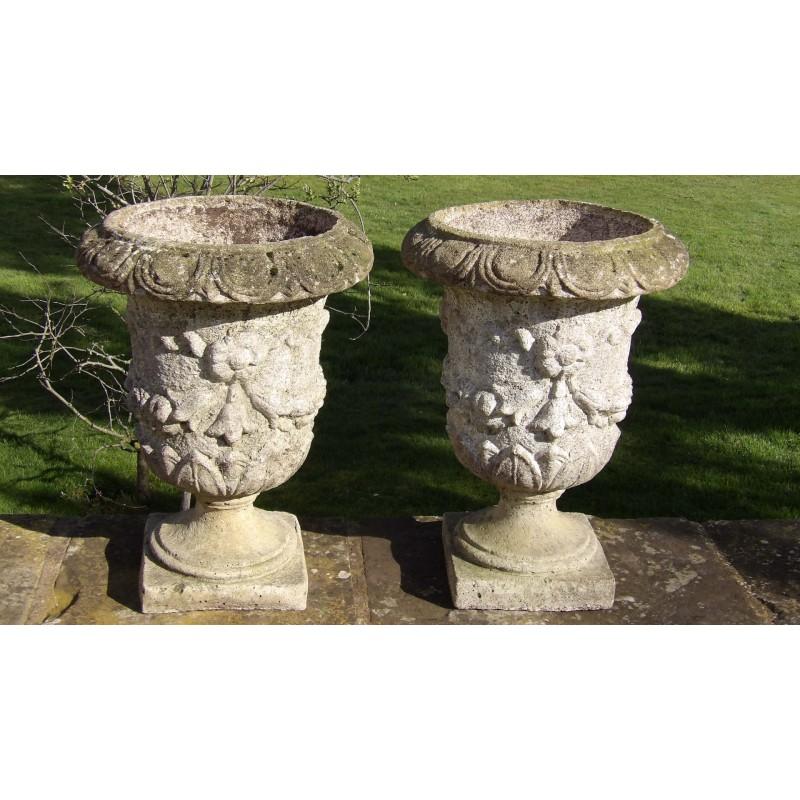 Pair of Weathered Garden Urns