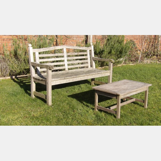 Weathered Teak Garden Bench