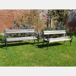 Pair Weathered Garden Benches