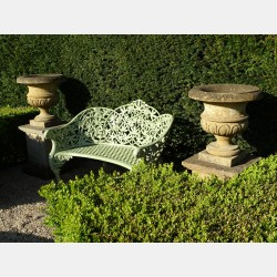 Weathered Stone Garden Urns