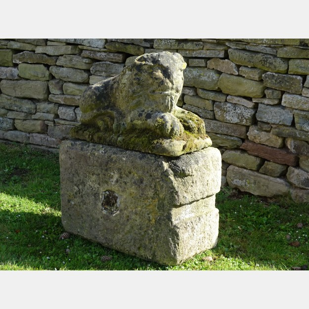 Vintage Stone Lion on Base