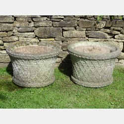 Pair Weathered Garden Planters