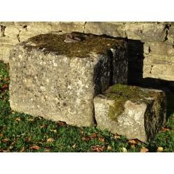 Salvaged Limestone Mounting Block