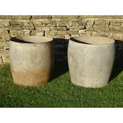 Old Galvanised Barrel Planters