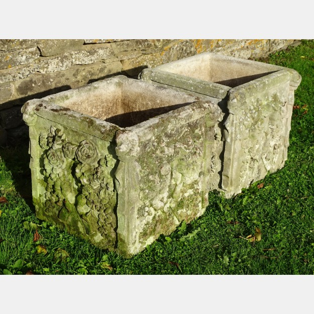 Pair Weathered Haddonstone Planters
