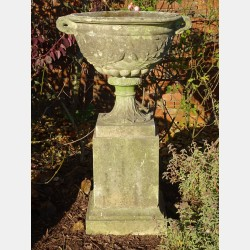 Weathered Large Urn on Plinth