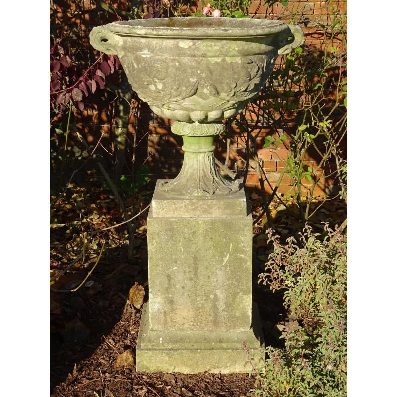 Weathered Large Urn on Plinth