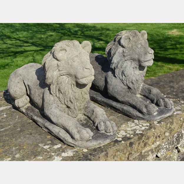 Pair Weathered Stone Lions