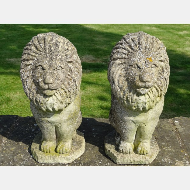 Pair Weathered Lions