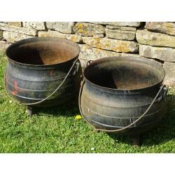 Pair Old Cauldron Planters