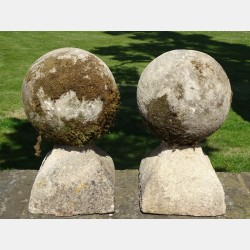 Antique Limestone Ball Finials
