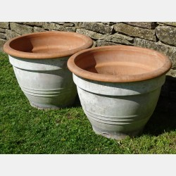Pair weathered Terracotta Planters