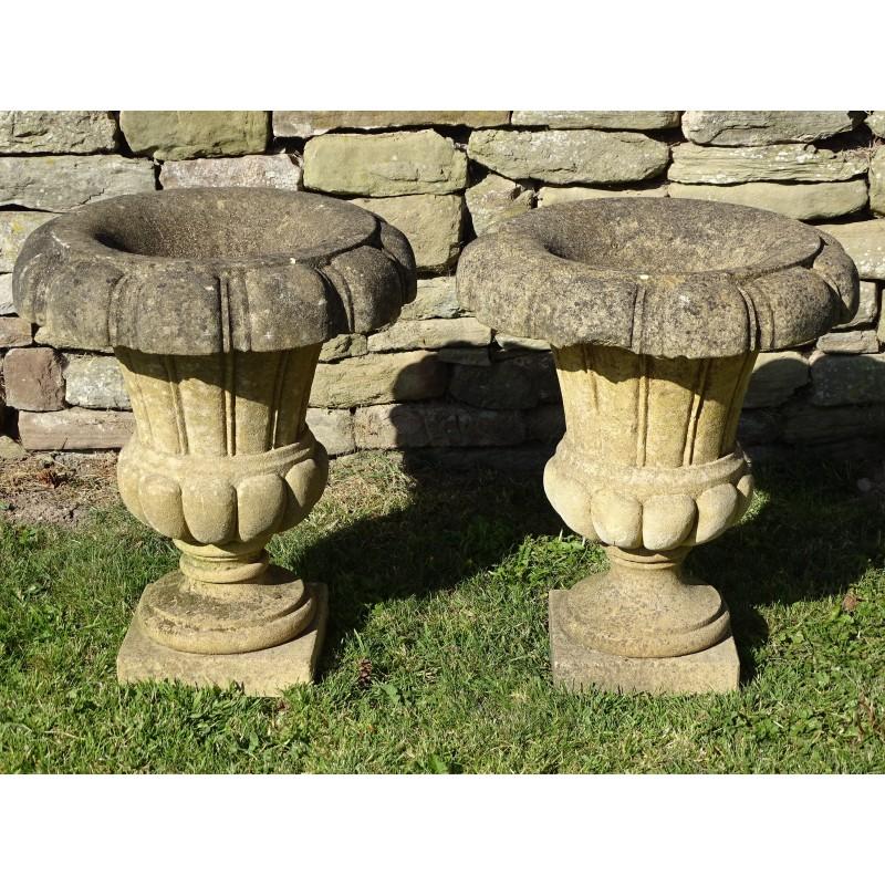 Pair Limestone Garden Urns