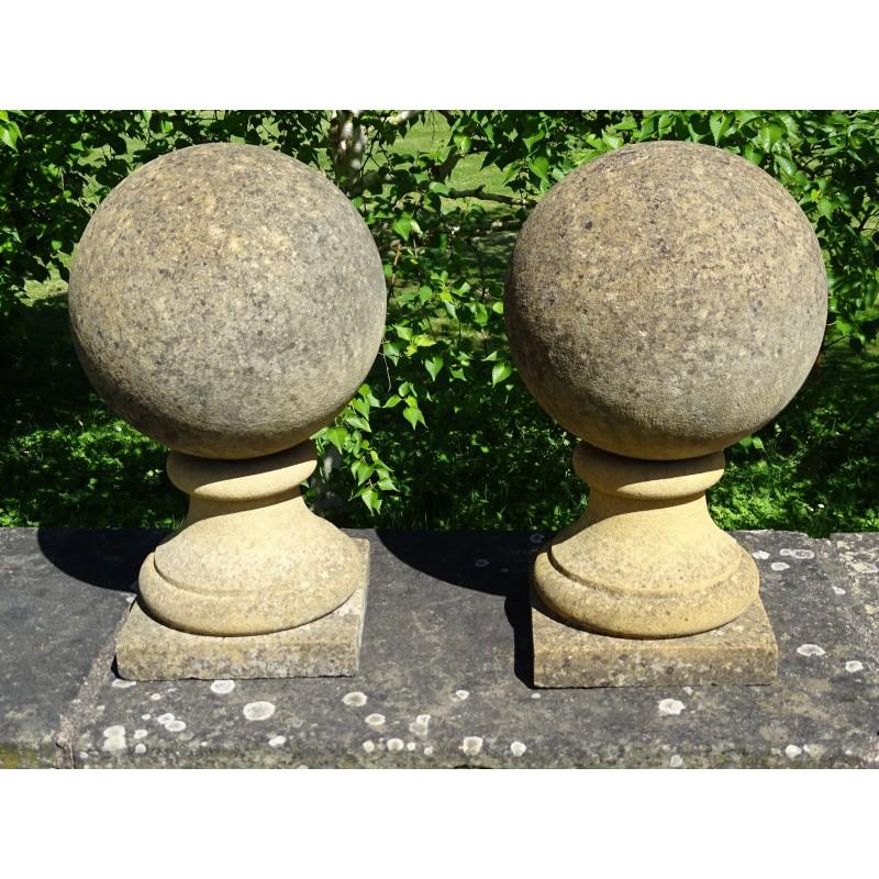 Pair Limestone Gate Finials