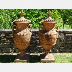 Weathered Terracotta Finial Urns