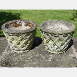 Pair Small Woven Planters