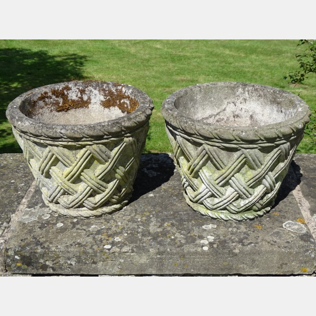 Pair of Small Woven Planters