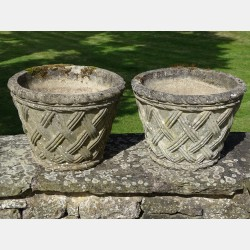 Pair Basketweave Garden Planters