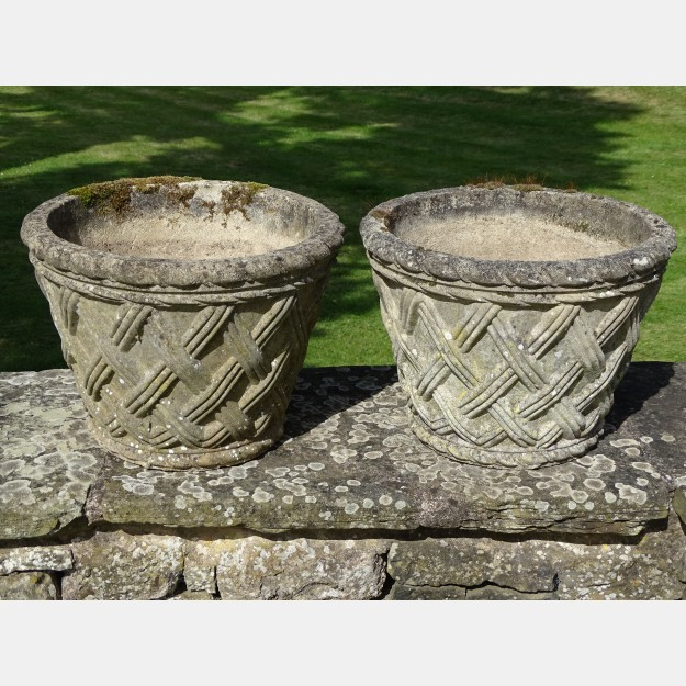 Pair of Basketweave Garden Planters