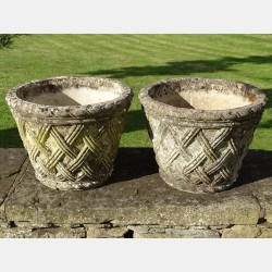 Pair of Basketwork Garden Planters