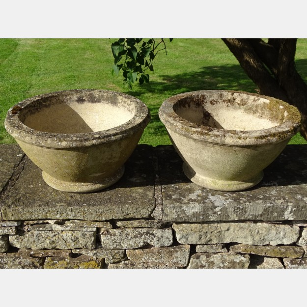 Pair of Weathered Bowl Planters